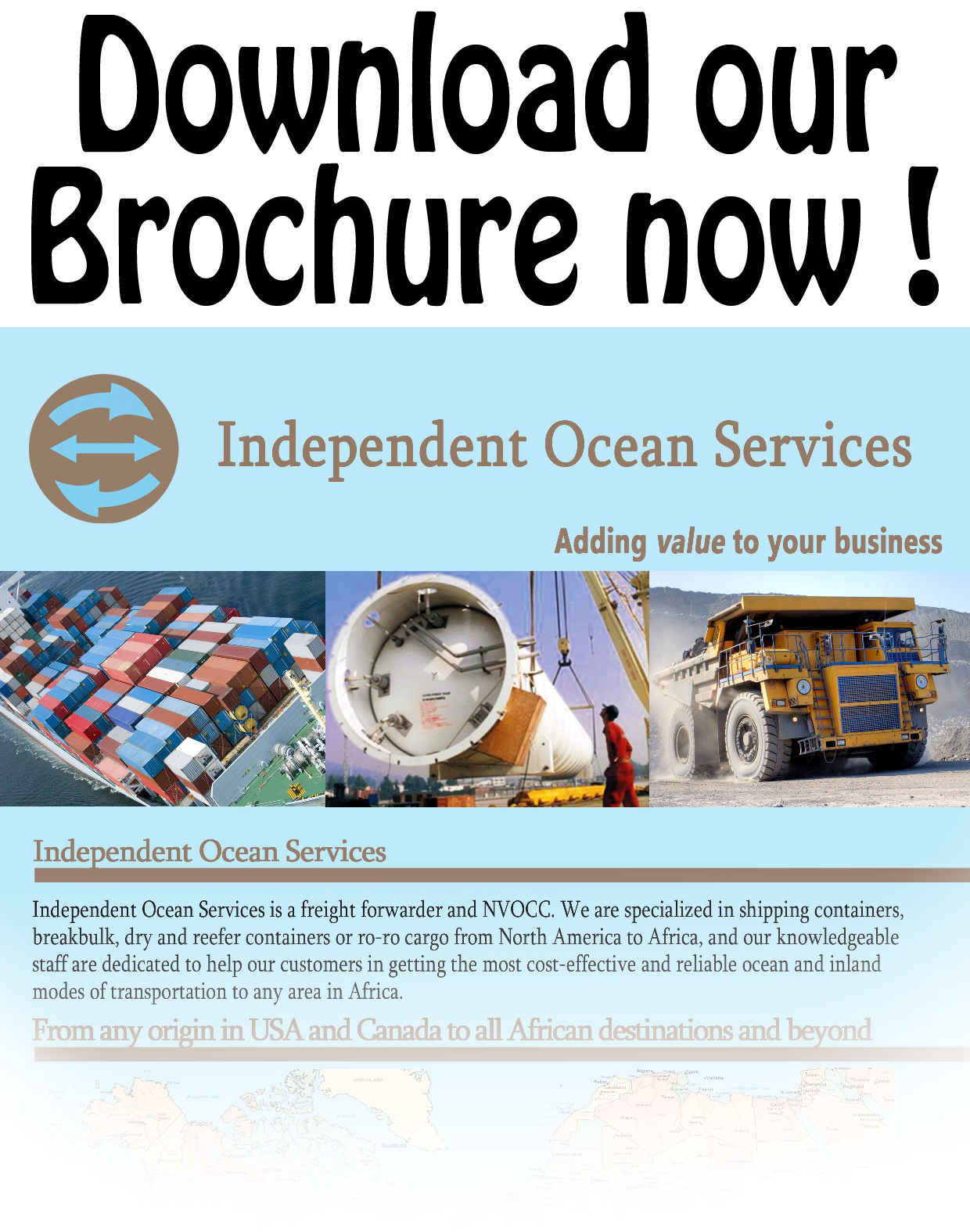 Independent Ocean Services - Brochure - All the information about our transportation services, African destinations and contact details.